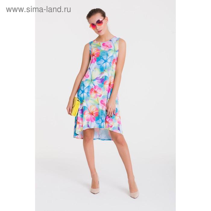 Платье 4756, размер 46, рост 164 см, цвет голубой/розовый