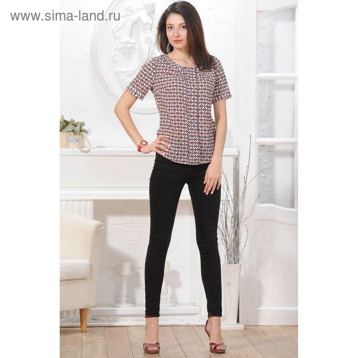 Блуза 4830, размер 48, рост 164 см, цвет тёмно-синий/красный/беж