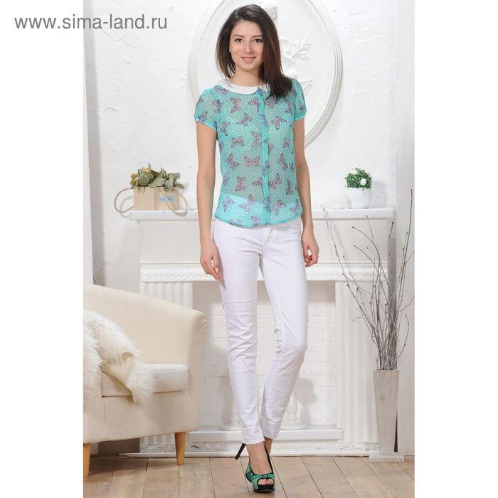 Блуза, размер 52, рост 164 см, цвет зелёный/белый (арт. 4824 С+)