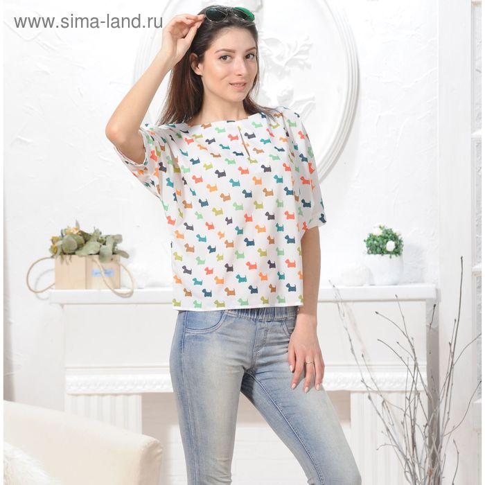 Блуза 4843, размер 46, рост 164 см, цвет белый