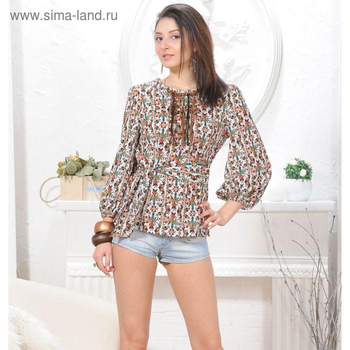 Блуза, размер 52, рост 164 см, цвет белый/зеленый/оранжевый (арт. 4845а С+)