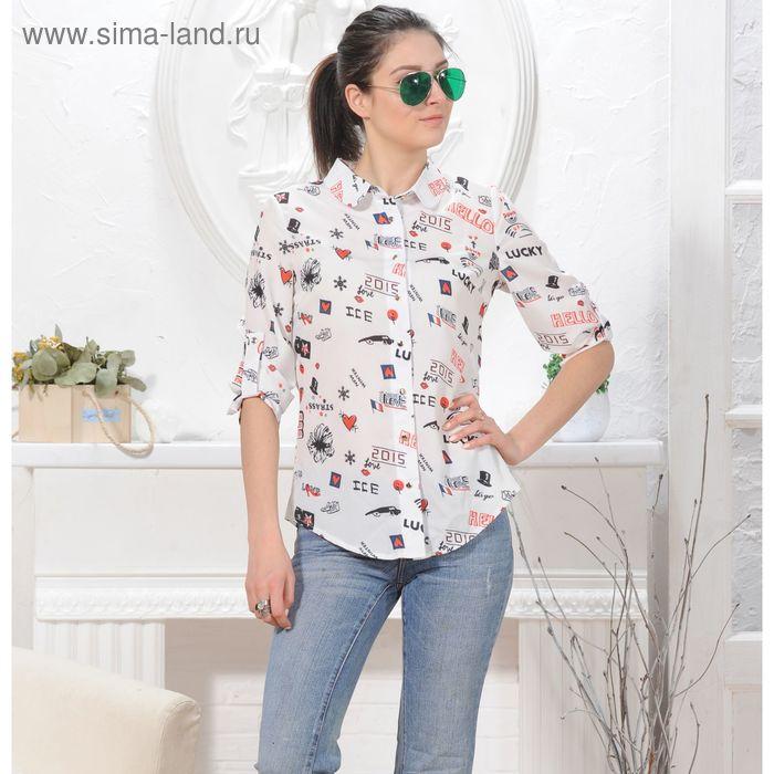 Блуза, размер 52, рост 164 см, цвет белый (арт. 4846 С+)