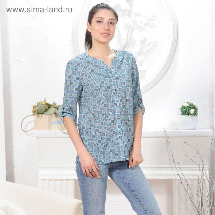 Блуза 4835, размер 46, рост 164 см, цвет зеленый/синий