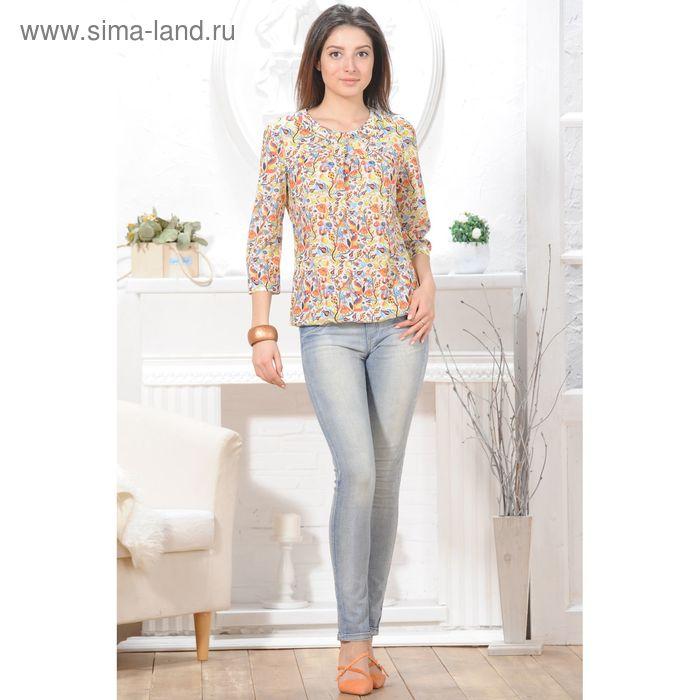Блуза 4834 С+, размер 50, рост 164см, цвет белый/оранж/лимон