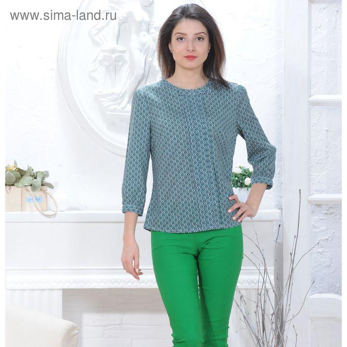 Блуза 4833, размер 46, рост 164 см, цвет зеленый/белый