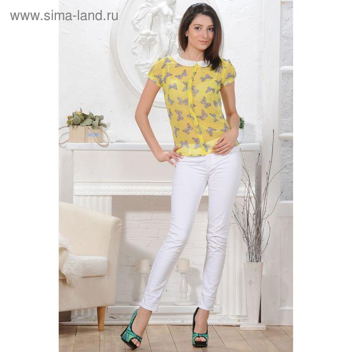 Блуза, размер 50, рост 164 см, цвет жёлтый/белый (арт. 4824а С+)