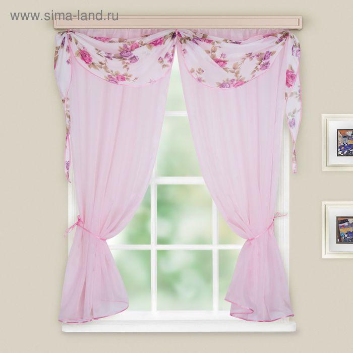 """Комплект штор """"Легкость"""", ширина 120 см, высота 160 см-2шт., ламбрекен 260х35 см, цвет светло-розовый, принт микс"""