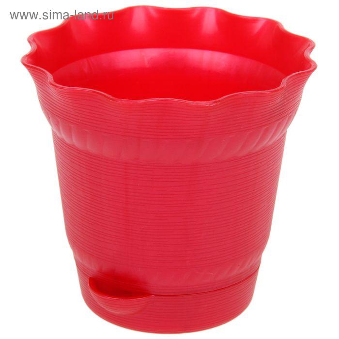 Горшок для цветов 1,7 л с поддоном Aquarelle, d=17 см, цвет красный