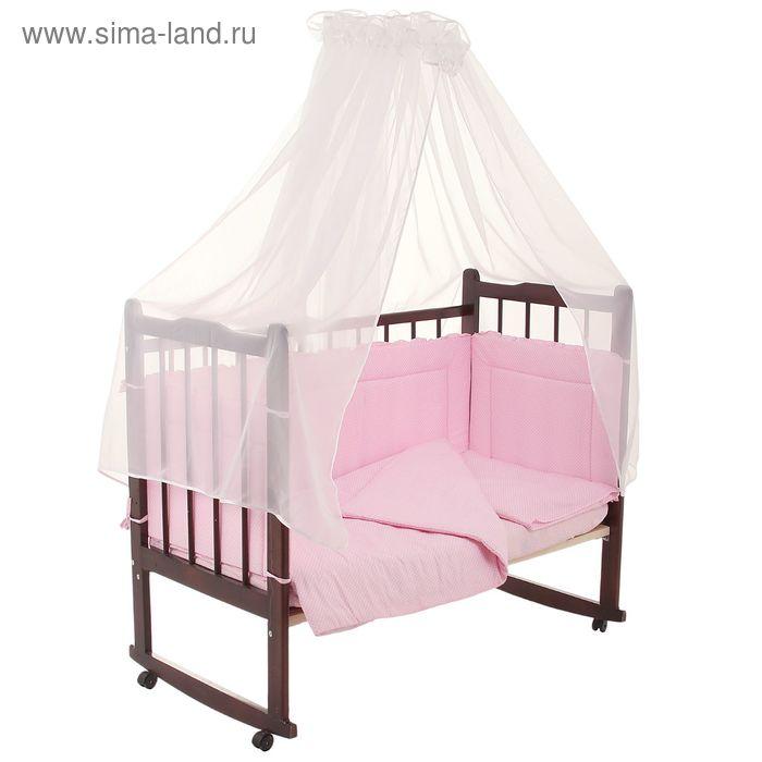 """Комплект в кроватку """"Горошки"""" (7 предметов), цвет розовый (арт. 10703)"""