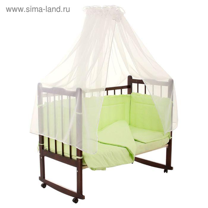"""Комплект в кроватку """"Горошки"""" (7 предметов), цвет зелёный (арт. 10703)"""