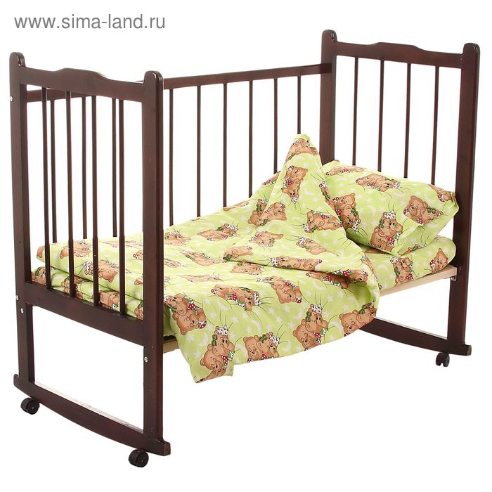 """Детское постельное бельё """"Сони"""", пододеяльник 110х140, простыня на резинке 90х150, наволочка 40х60-1 шт., цвет зелёный (арт. 10024)"""