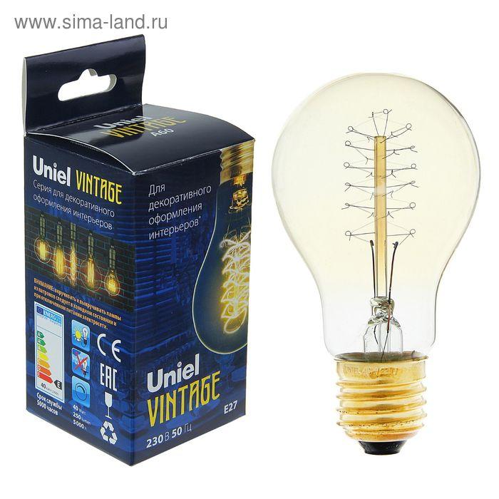 "Лампа накаливания Uniel ""Vintage"" А60, Е27, 40 Вт, форма нити CW01, тёплый свет"