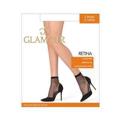 Носки женские Glamour Collant Retina Calzino, сетка, 2 пары, цвет nero (чёрный)