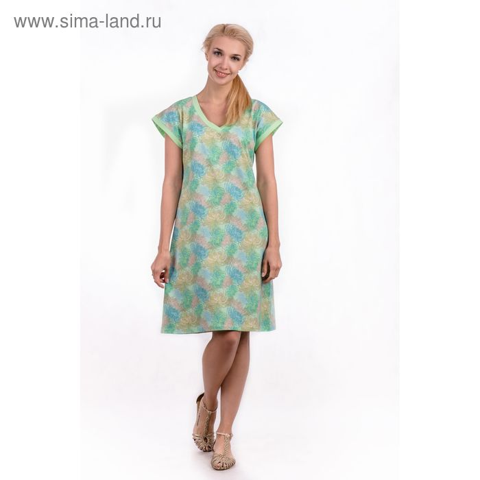"""Сорочка женская """"Хризантемы"""", цвет салатовый, размер 54 (арт. ML2537/01)"""