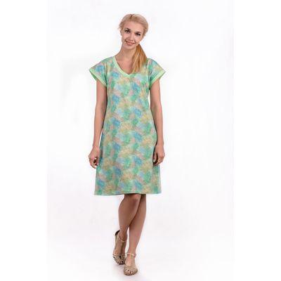 """Сорочка женская """"Хризантемы"""", цвет салатовый, размер 52 (арт. ML2537/01)"""