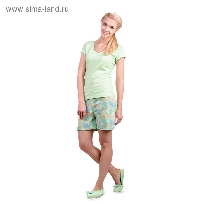 "Пижама женская ""Хризантемы"", цвет салатовый, размер 46 (арт. ML2533/01)"