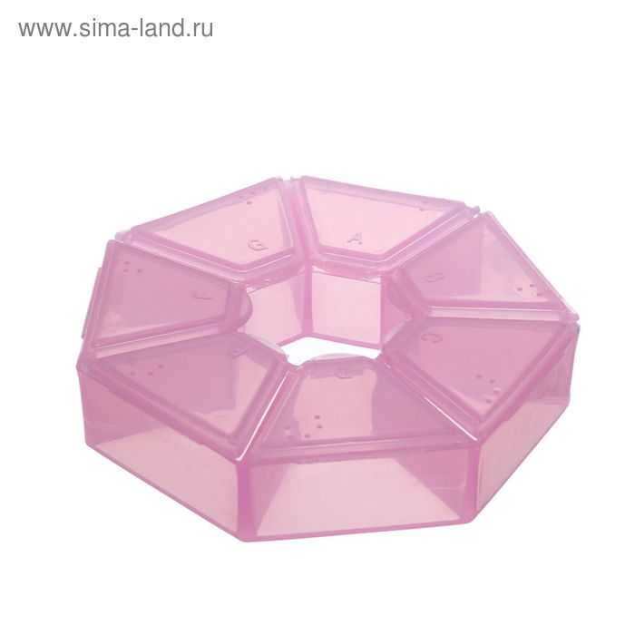 Контейнер для бисера, 9,1х2,1см, цвет розовый
