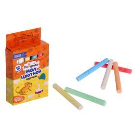Мел школьный цветной набор CALLIGRATA 12цв круглый в картон коробке