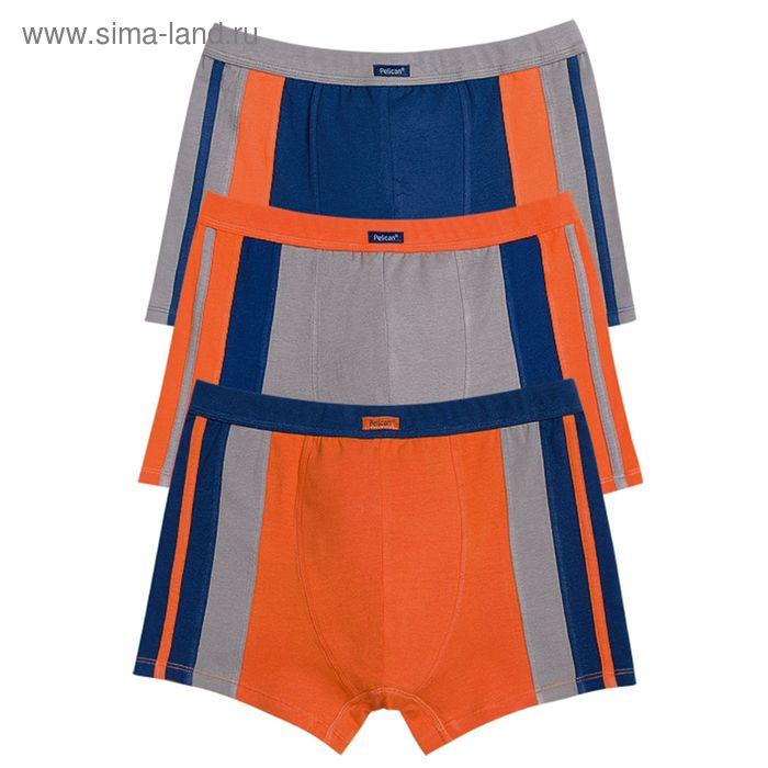 Набор мужских трусов облегающих 3 шт., цвета оранжевый, серый, синий, размер 50 (XL) (арт. MH(3)606/2)