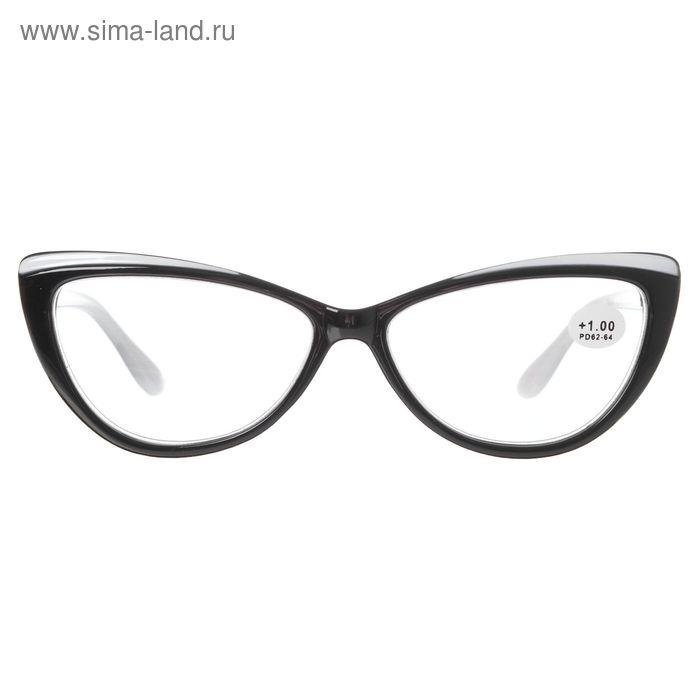 "Очки ""Бабочки"", пластик, цвет чёрно-белый, +1 дптр, 62-64мм"