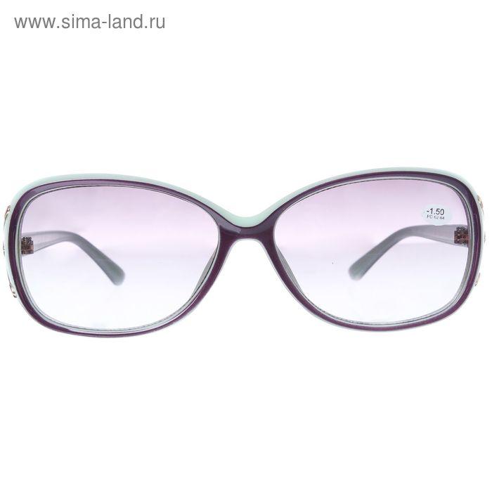"""Очки """"Овальные"""", пластик, линза тонированная, цвет зелёный, -1,5 дптр, 62-64мм"""
