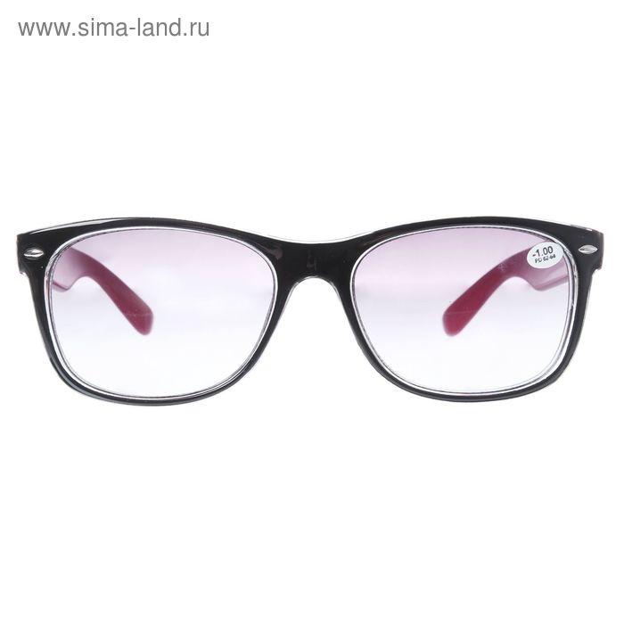 """Очки """"Квадратные"""", пластик, линза тонированная, цвет чёрно-красный, -1 дптр, 62-64мм"""