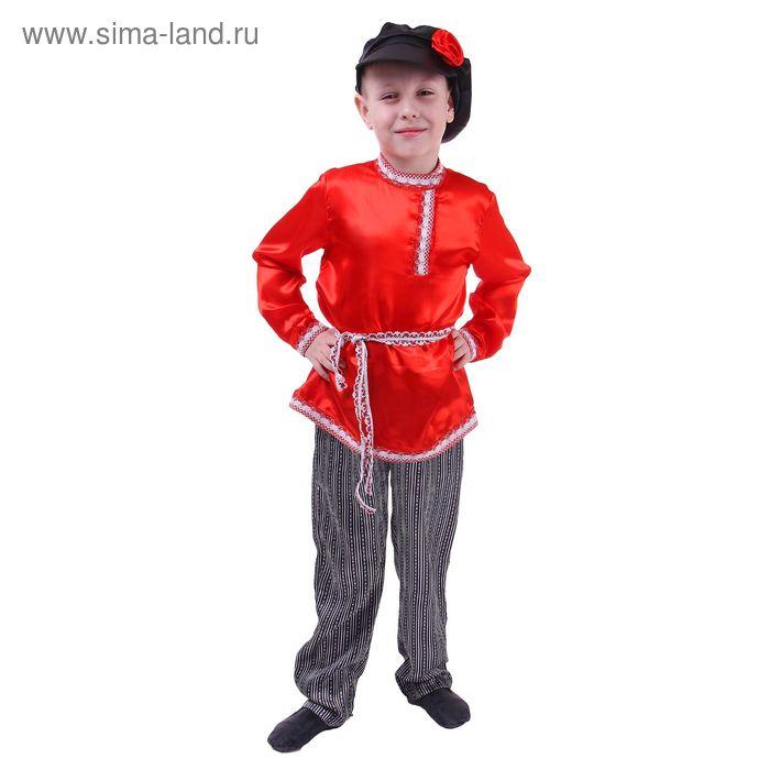 Русский народный костюм для мальчика, красная рубашка, штаны, фуражка, обхват груди 64 см, рост 116 см