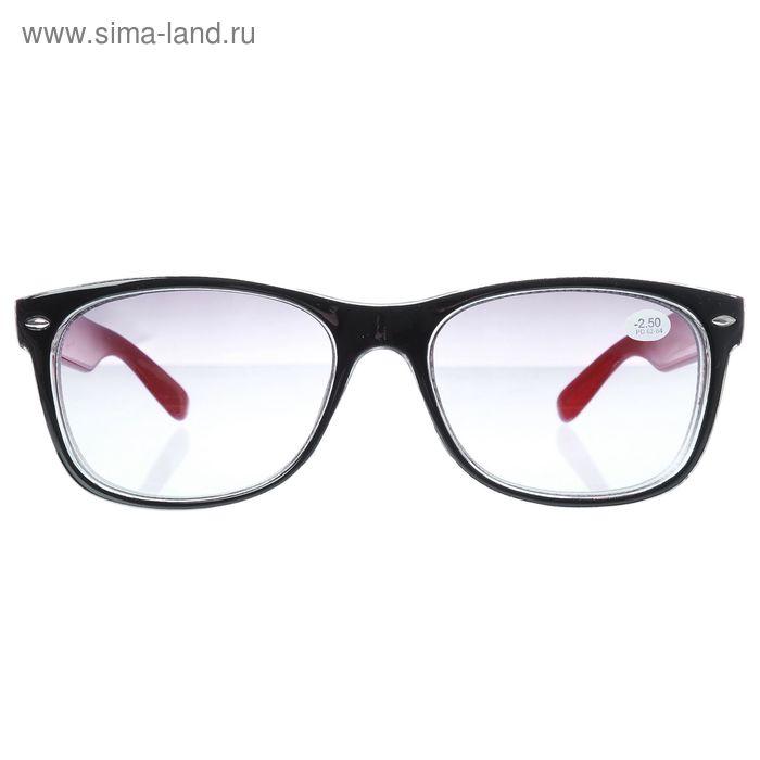 """Очки """"Квадратные"""", пластик, линза тонированная, цвет чёрно-красный, -2,5 дптр, 62-64мм"""