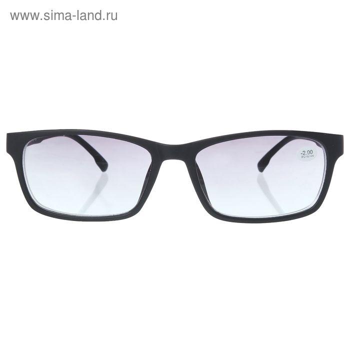 """Очки """"Прямоугольные"""", пластик, линза тонированная, цвет чёрный, -2 дптр, 62-64мм"""