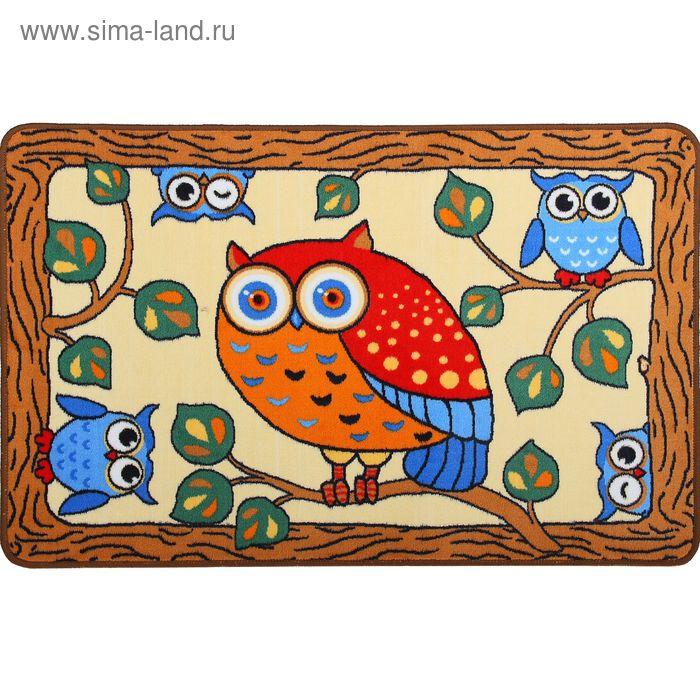 Ковер велюровый Сова, размер 80х120 см, цвет бежевый, полиамид