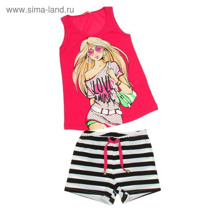 Комплект для девочек (майка+шорты), рост 140-146 см, возраст 10 лет, цвет фуксия (арт. GAVH481)