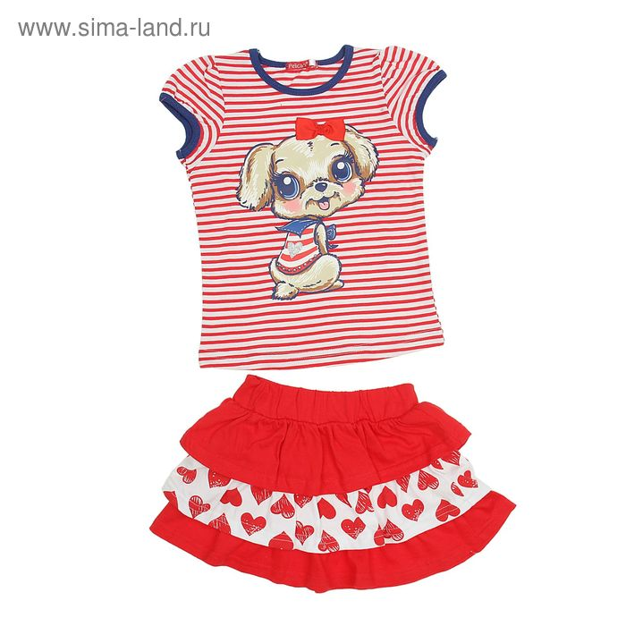 Комплект для девочек (футболка + юбка), рост 110-116 см, возраст 5 лет, цвет красный (арт. GATS372)