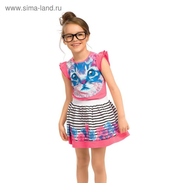 Комплект для девочек (футболка + юбка), рост 86-92 см, возраст 1 год, цвет ярко-розовый (арт. GATS377)