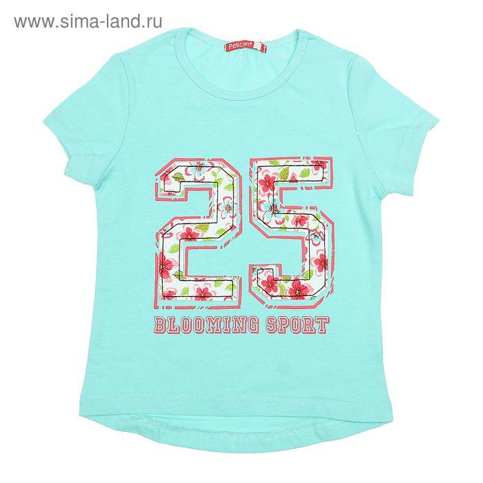 Футболка для девочек, рост 104-110 см, возраст 4 года, цвет нежно-голубой (арт. GTR375)