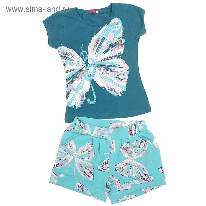 Комплект для девочек (футболка + шорты), рост 134-140 см, возраст 9 лет, цвет мятный (арт. GATH478)
