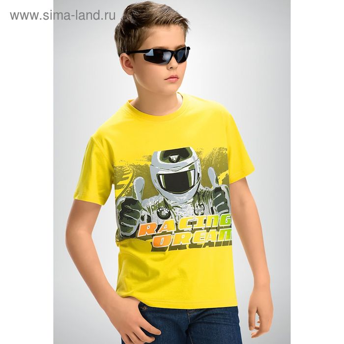 Футболка для мальчиков, рост 116-122 см, возраст 6 лет, цвет жёлтый (арт. BTR436)