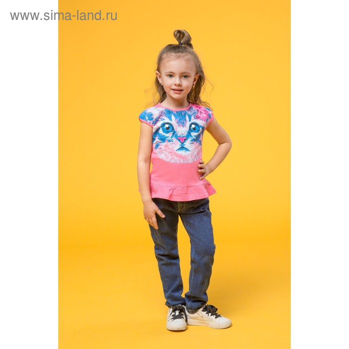 Футболка для девочек, рост 110-116 см, возраст 5 лет, цвет ярко-розовый (арт. GTR377)