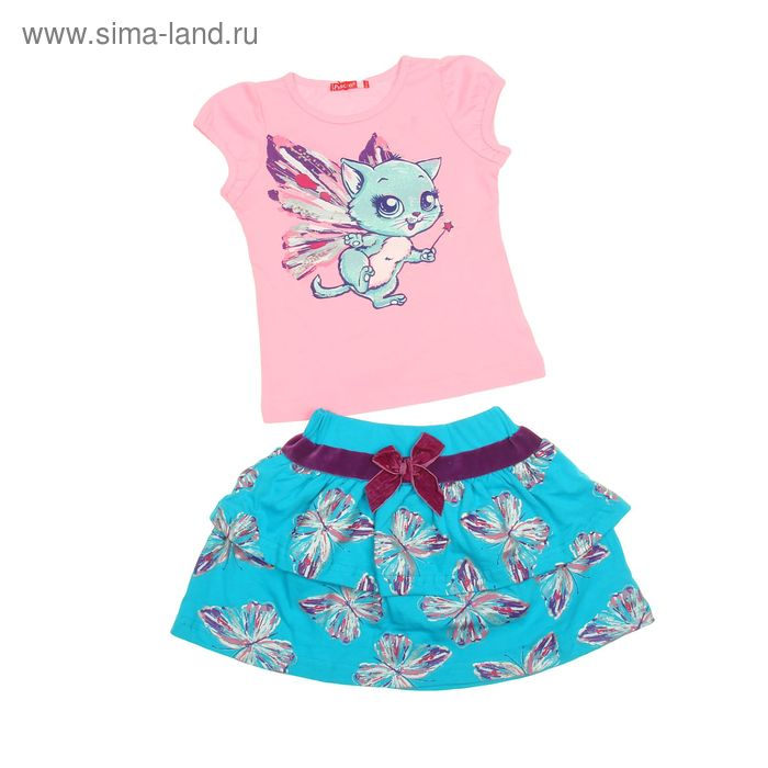 Комплект для девочек (футболка + юбка), рост 110-116 см, возраст 5 лет, цвет розовый (арт. GATS371)