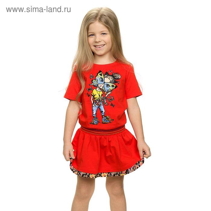 Платье для девочек, рост 104-110 см, возраст 4 года, цвет красный (арт. GDT388/1)