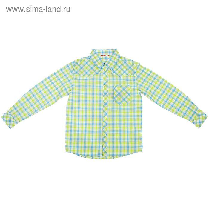 Сорочка верхняя для мальчиков, рост 128-134 см, возраст 8 лет, цвет салатовый (в клеточку) (арт. BWJX465)
