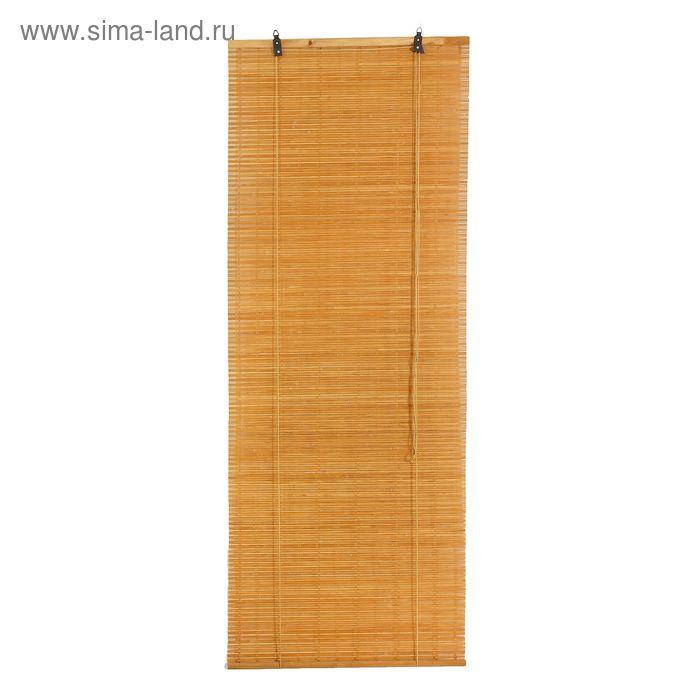 """Штора рулонная бамбуковая 80 х160 см """"Кабуки"""", цвет светлый дуб"""