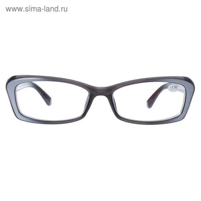 """Очки """"Бабочки"""", пластик, цвет чёрно-серый, -1,5 дптр, 62-64мм"""