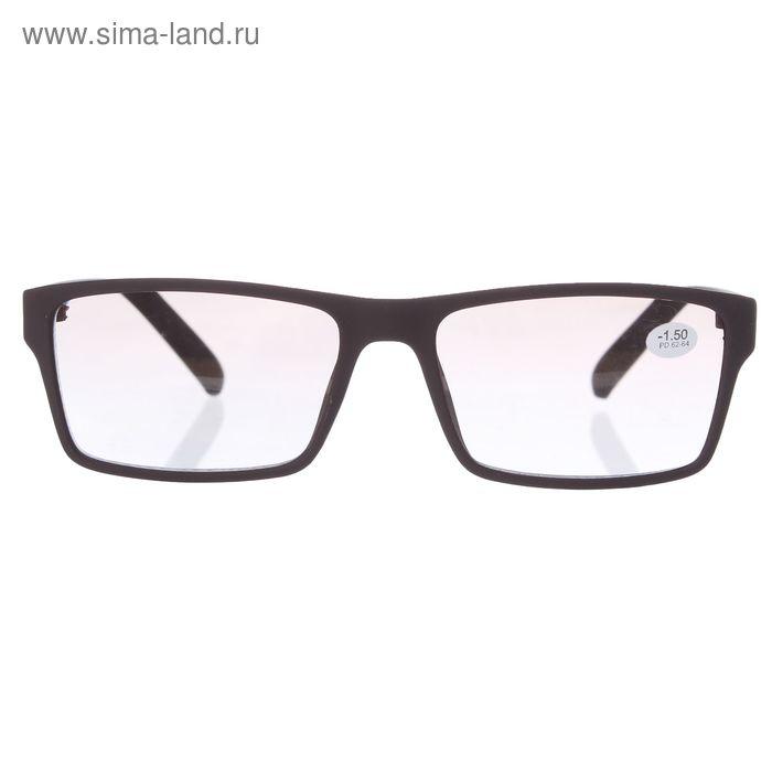 """Очки """"Прямоугольные"""", оправа силикон, тонированные, цвет коричневый, -1,5 дптр, 62-64мм"""