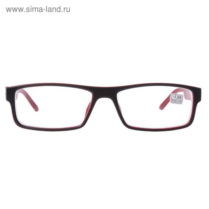 """Очки """"Прямоугольные"""", пластик, цвет чёрно-красный, -1 дптр, 62-64мм"""