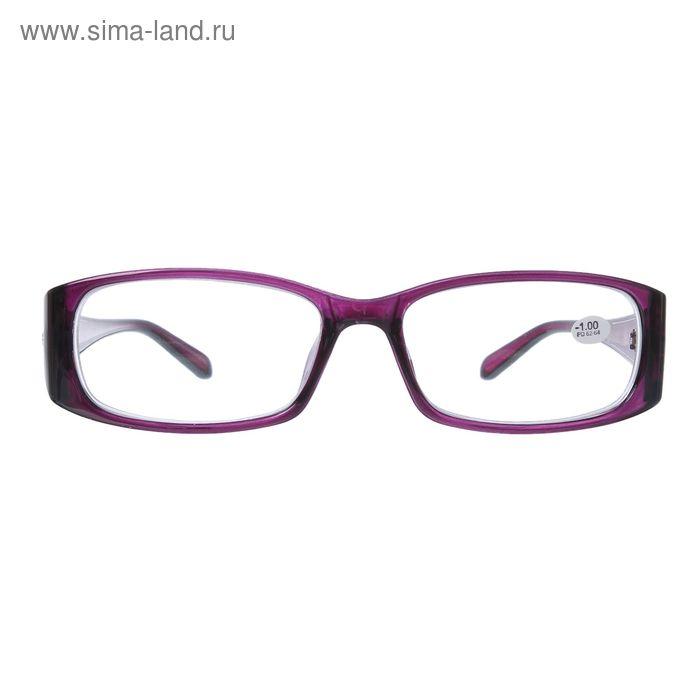 """Очки """"Прямоугольные"""", пластик, цвет лиловый, -1 дптр, 62-64мм"""