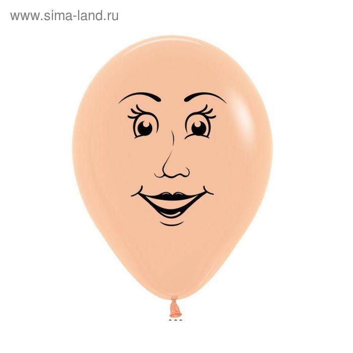 """Шар латексный 12"""" """"Женское лицо"""", односторонний рисунок, пастель, набор 100 шт., цвет телесный"""