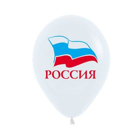 """Шары латексные 12"""" """"Россия"""", 2-сторонний рисунок, пастель, набор 100 шт., цвет белый"""