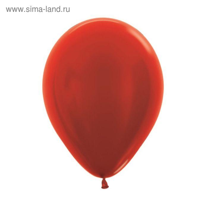 """Шар латексный 5"""", металл, набор 100 шт., цвет красный"""