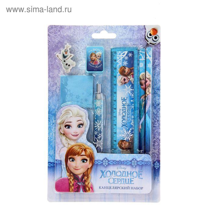 Канцелярский набор Disney Frozen, линейка, ластик, точилка, 2 карандаша, ручка, стикеры