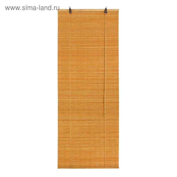 """Штора рулонная бамбуковая 100 х160 см """"Кабуки"""", цвет светлый дуб"""